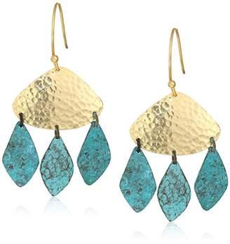 Panacea Hammered Gold Patina Drop Earrings