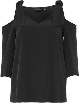 Dorothy Perkins Womens Black 3/4 Sleeve Cold Shoulder Top