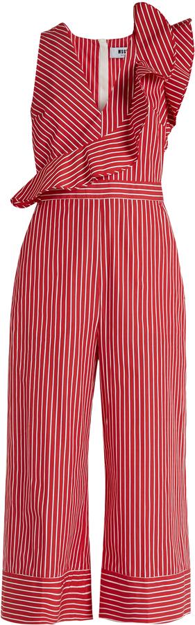 MSGM Ruffle-trimmed striped cotton wide-leg jumpsuit
