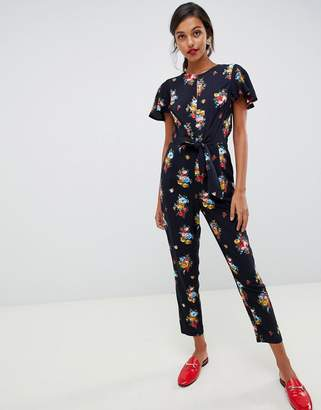 Oasis jumpsuit with ruffle cap sleeves in floral print