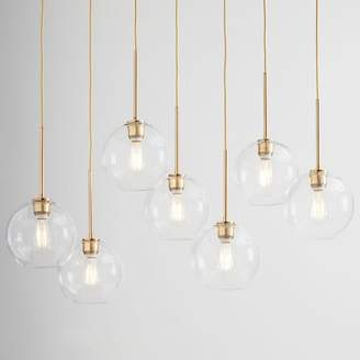 west elm Sculptural Glass Globe 7-Light Chandelier - Small (Clear)