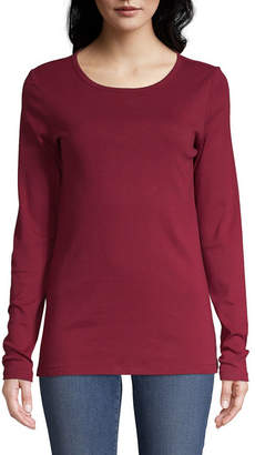 ST. JOHN'S BAY Long Sleeve Scoop Neck Tee - Tall