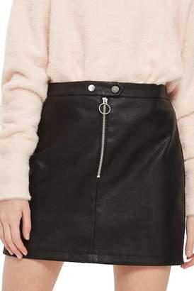 Topshop Zip Front Faux Leather Miniskirt