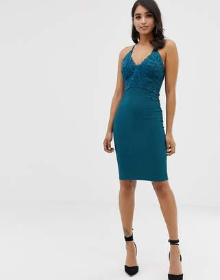 Lipsy floral applique high neck bodycon dress in teal