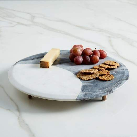 Marble + Copper Footed Cheese Board