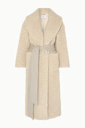 Salvatore Ferragamo Belted Cashmere And Silk-blend Coat - Ivory
