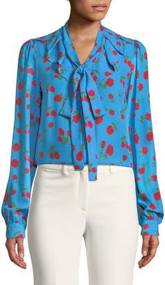 Michael Kors Button-Down Tie-Neck Scattered Rose-Print Silk Georgette Blouse