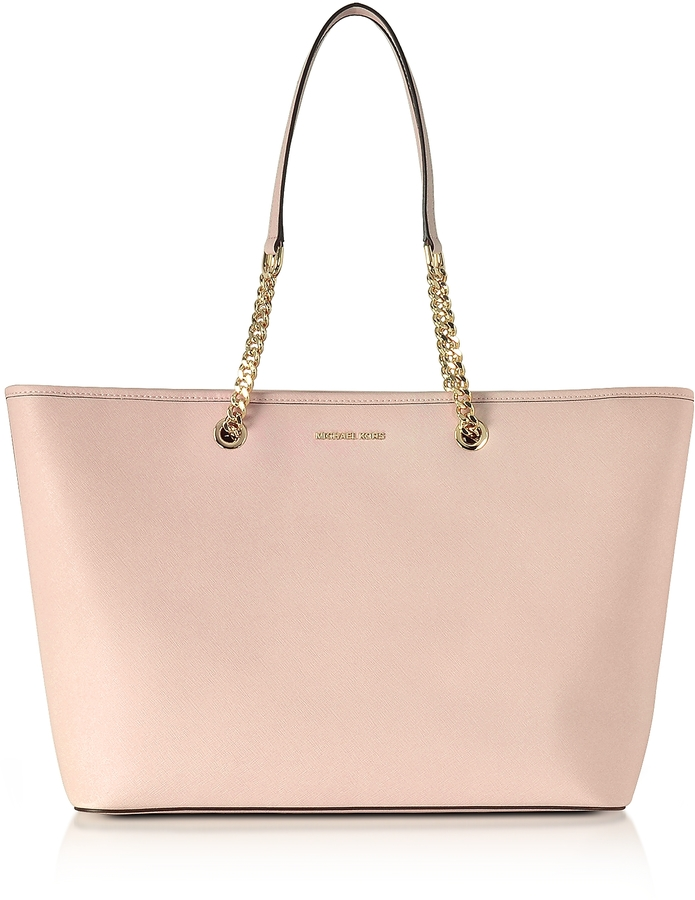 Michael Kors Jet Set Travel Chain Medium Soft Pink T/Z Saffiano Leather Multifunction Tote