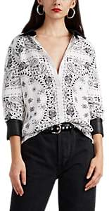 Alexander Wang Women's Leather-Trimmed Bandana-Print Silk Shirt - White
