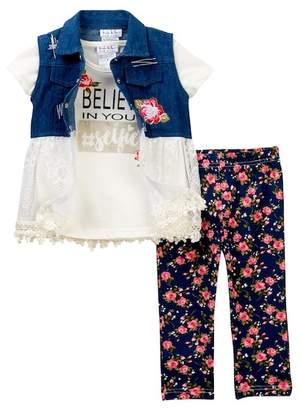 Nicole Miller Denim Lace Vest, Tee, & Printed Capri Set (Toddler Girls)