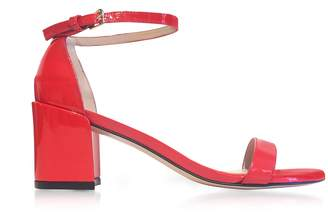 Stuart Weitzman Simple Follow Me Red Patent Leather Sandals
