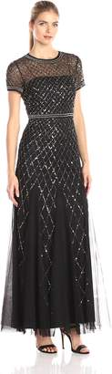 Adrianna Papell Women's Short Sleeve Beaded Mesh Gown