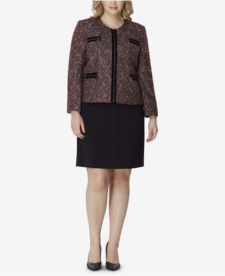 Tahari ASL Plus Size Zip-Up Jacket & Skirt Suit