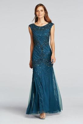 Adrianna Papell - 61923560 Lattice Cap Sleeve Trumpet Gown $549 thestylecure.com