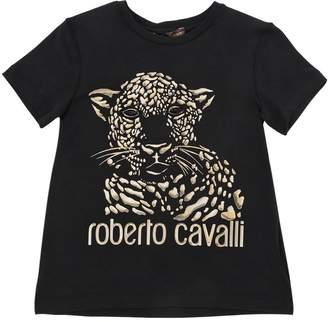 Roberto Cavalli Leopard Print Jersey T-Shirt W/ Crystals