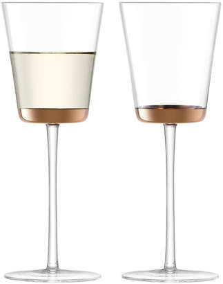 LSA International Edge White Wine Glass Rose Gold
