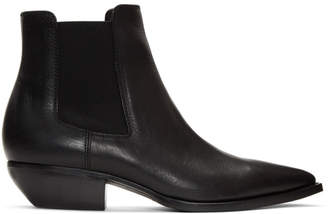 Saint Laurent Black Pointy Chelsea Boots