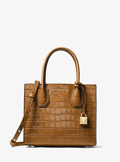Michael Kors Mercer Embossed-Leather Crossbody