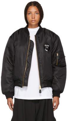 Yang Li ブラック ロゴ ボンバー ジャケット