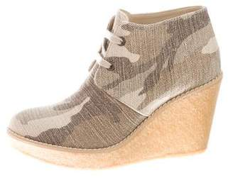 Stella McCartney Camoflouge Oxford Wedges w/ Tags
