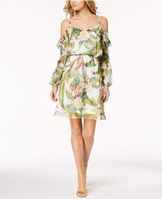 Adrianna Papell Tropical-Print Cold-Shoulder Dress