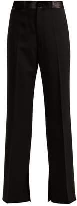 Helmut Lang Slit Cuff Wool Blend Twill Tuxedo Trousers - Womens - Black