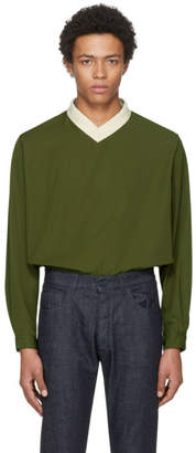 Sunnei Green V-Neck Over Pullover