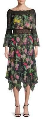 Tadashi Shoji Floral Lace Bell-Sleeve Dress