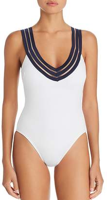 Kenneth Cole V-Neck Crisscross Back One Piece Swimsuit