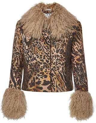 Saks Potts Dorthe Animal Print Wool Jacket with Lambskin