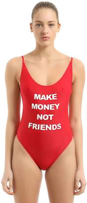 Logo Printed One Piece Swimsuit
