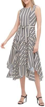 Calvin Klein Striped Belted Handkerchief-Hem Dress