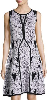 Carmen Marc Valvo Carmen By Crewneck Fit & Flare Jacquard Dress, Gray/White