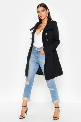 boohoo Hannah Military Wool Look Coat