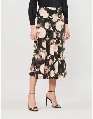 Erdem Elvin high-waist floral-print crepe midi skirt