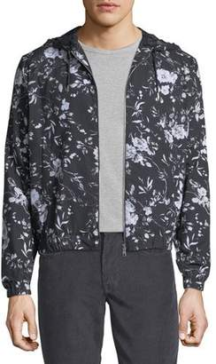 McQ Floral-Print Hooded Zip-Front Jacket