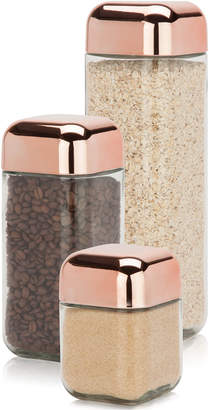 Honey-Can-Do 3-Pc. Glass & Copper Canister Set