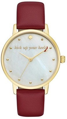 Women's Kate Spade New York 'Metro - Stiletto' Round Leather Strap Watch, 34Mm $195 thestylecure.com
