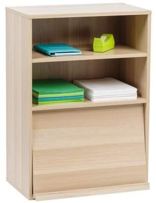 IRIS USA, Inc. IRIS Open Wood Shelf with Pocket Door, Light Brown, Collan Series