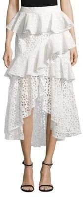 AMUR Willow Eyelet High-Low Skirt