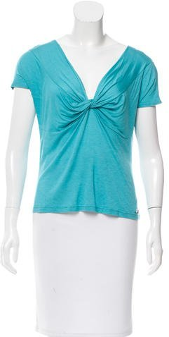 Christian Dior Knot-Accented Short Sleeve Top