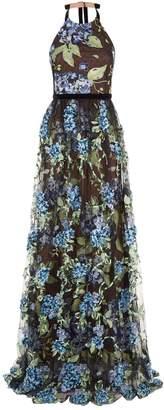 Marchesa Hydrangea Applique Gown