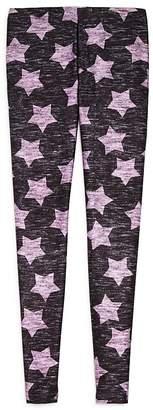 Terez Girls' Heathered Pink Star Leggings - Little Kid