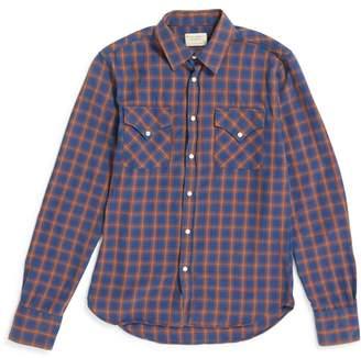 Nudie Jeans Jonis Western Checkered Shirt Blue & Tan