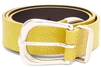 Isabel Marant Kidatt Snake Effect Leather Belt - Womens - Yellow