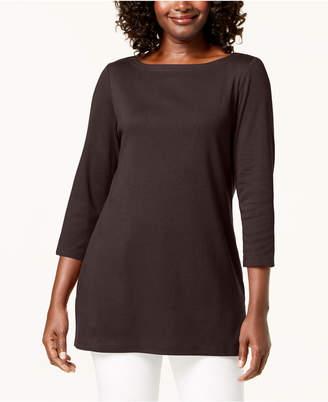Karen Scott 3/4-Sleeve Cotton Boat-Neck Tunic