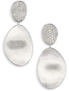 Marco Bicego Lunaria Medium Diamond& 18K White Gold Double-Drop Earrings