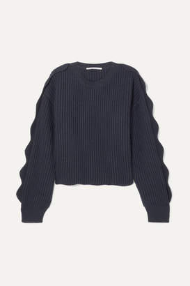 8190381d34f Stella McCartney Cropped Scalloped Ribbed Cotton And Wool-blend Sweater -  Navy