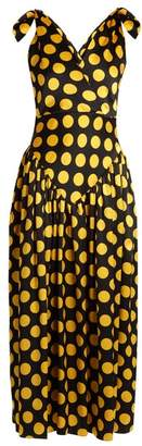 Duro Olowu - Large Polka Dot Print Silk Satin Gown - Womens - Black Yellow