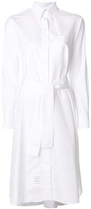 Thom Browne Long Sleeve A-line Belted Shirtdress In Solid Poplin